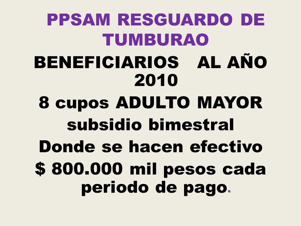 PPSAM RESGUARDO TUMBURAO PAGOS EFECTUADOS AÑO 2010 MARZO DE 2010 MAYO DE 2010
