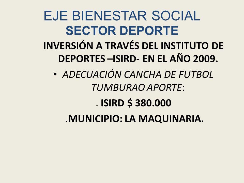 EJE BIENESTAR SOCIAL SECTOR DEPORTE INVERSIÓN A TRAVÉS DEL INSTITUTO SILVIANO PARA LA RECREACIÓN Y EL DEPORTE – ISIRD- PERIODO 2009.