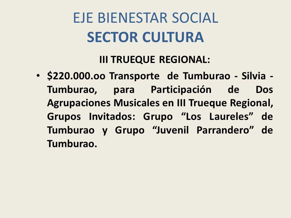 EJE BIENESTAR SOCIAL SECTOR CULTURA $600.000.oo Apoyo en actividad Aguinaldo Navideño 2009 (Representado en Obsequios para los niños y niñas de Tumburao, transporte de la delegación).