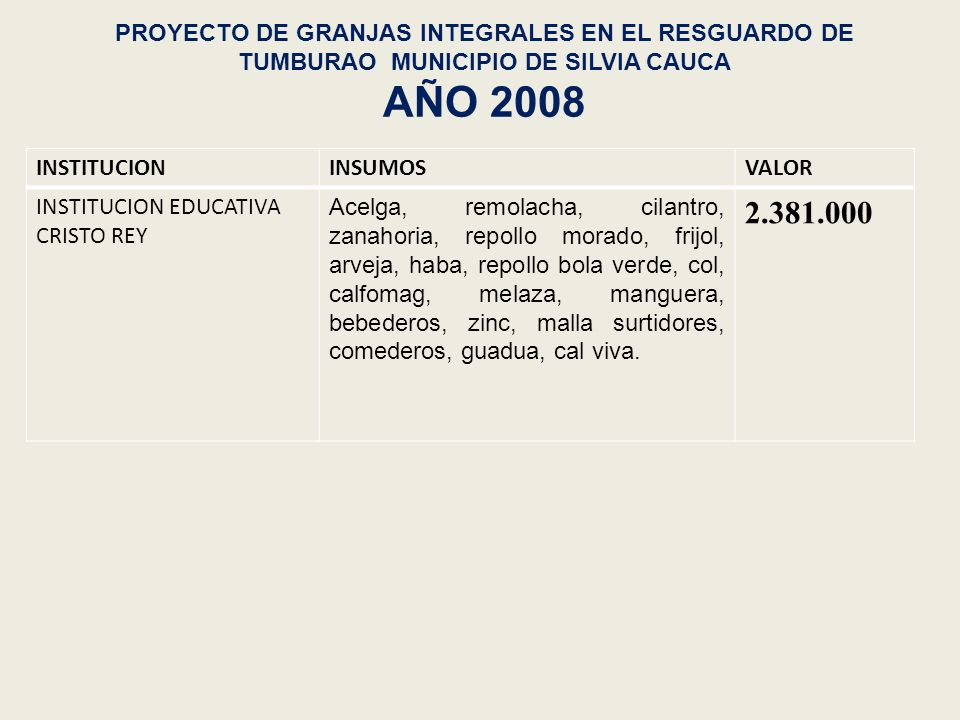 FORTALECIMIENTO A LA PRODUCCIÓN DE ESPECIES PROMISORIAS AÑO 2008 ZONAINSUMOSVALOR Resguardo de Quichaya80 bultos de gallinaza800.000 Asistencia tecnica permanente