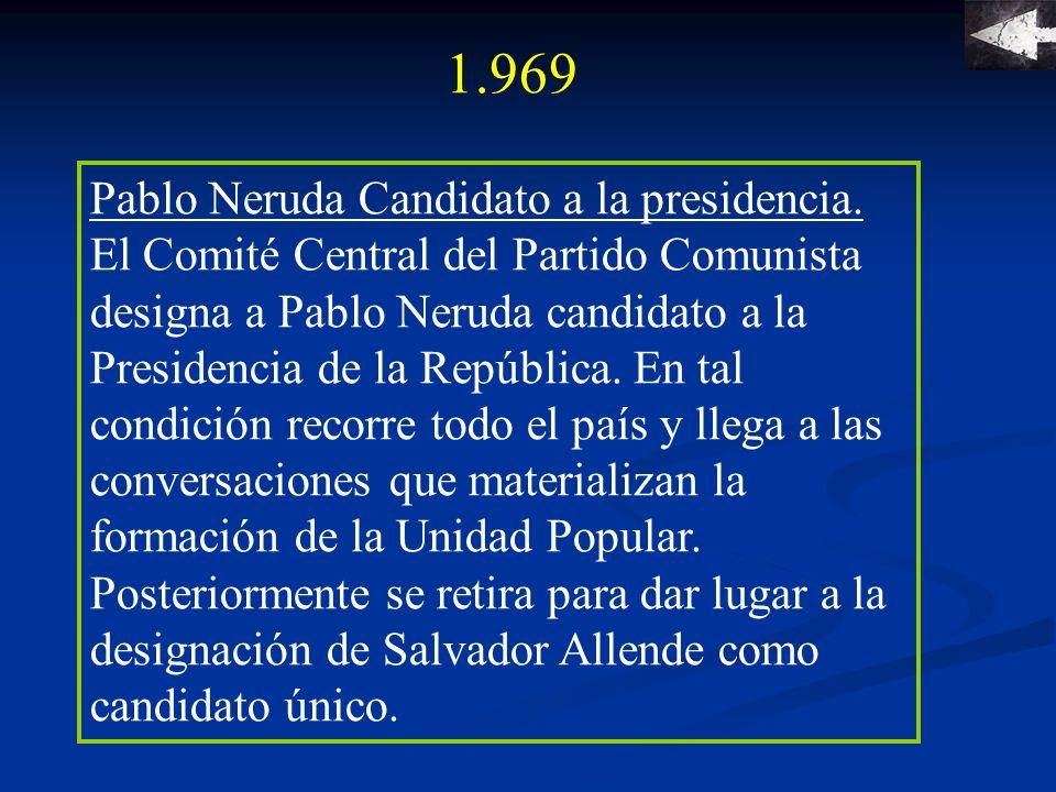 1.970 Tres nombres se presentaron a la contienda electoral: Jorge Alessandri Rodríguez (Derecha), Radomiro Tomic (Democracia Cristiana) y el electo presidente socialista Salvador Allende Gossens (Unidad Popular) con una mayoría del 36% del electorado.