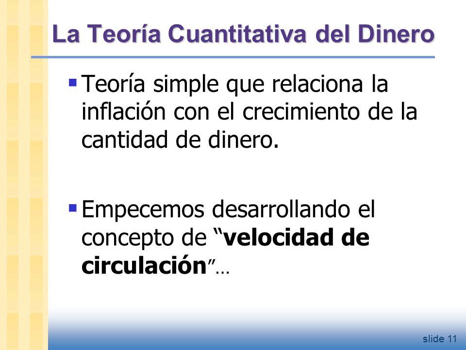 slide 12 Velocidad de circulación Concepto básico: tasa a la que circula el dinero Definición: número de veces que un billete promedio cambia de manos en un periodo de tiempo Ejemplo: En el 2004, S/.