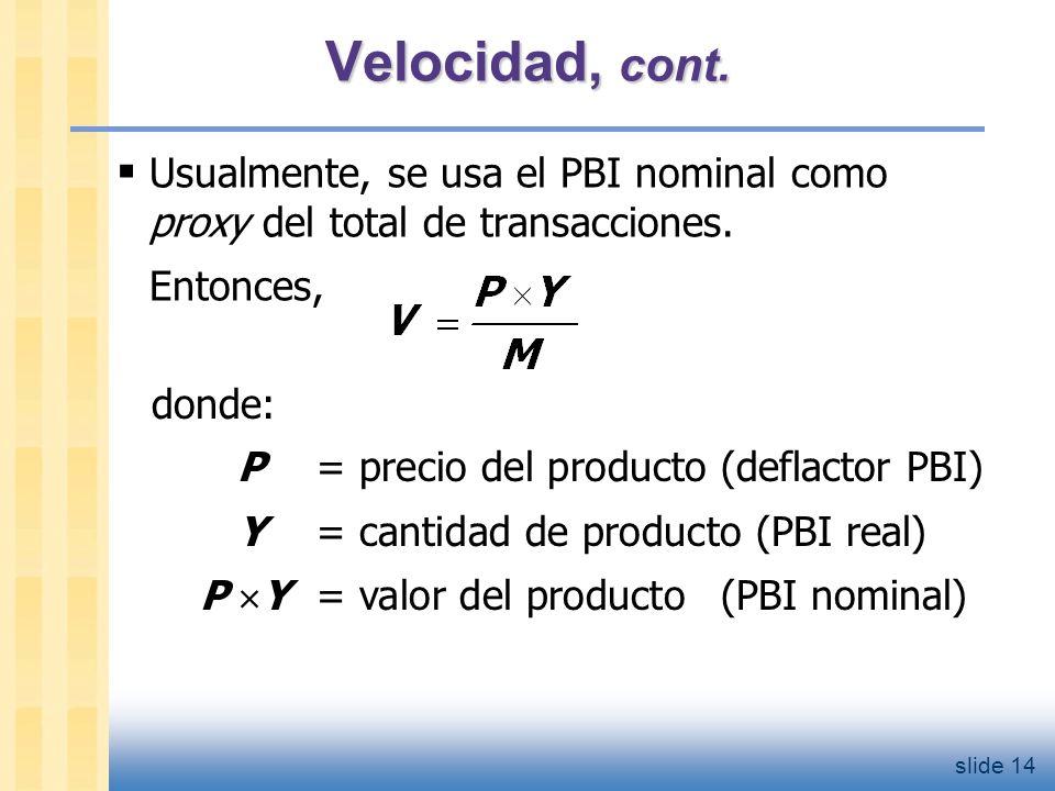slide 15 La ecuación cuantitativa La ecuación cuantitativa M V = P Y se obtiene de la definición precedente de velocidad.