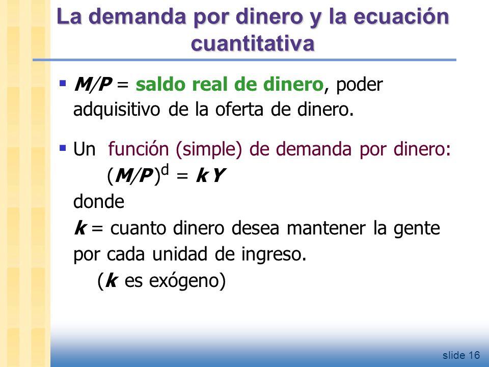 slide 17 La demanda por dinero y la ecuación cuantitativa Demanda por dinero: (M/P ) d = k Y Ecuación cuantitativa: M V = P Y La conección entre ambas: k = 1/V Cuando la gente mantiene una cantidad elevada de dinero en relación a su ingreso (k es alto), el dinero cambio de manos pocas veces (V es bajo).