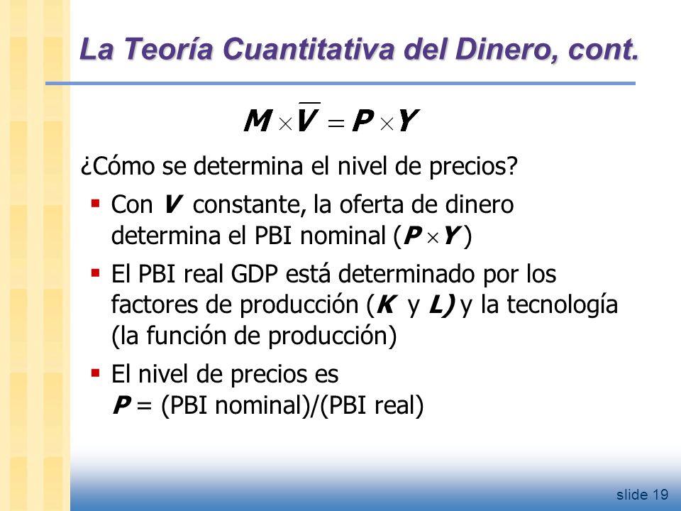 slide 20 La Teoría Cuantitativa del Dinero, cont.