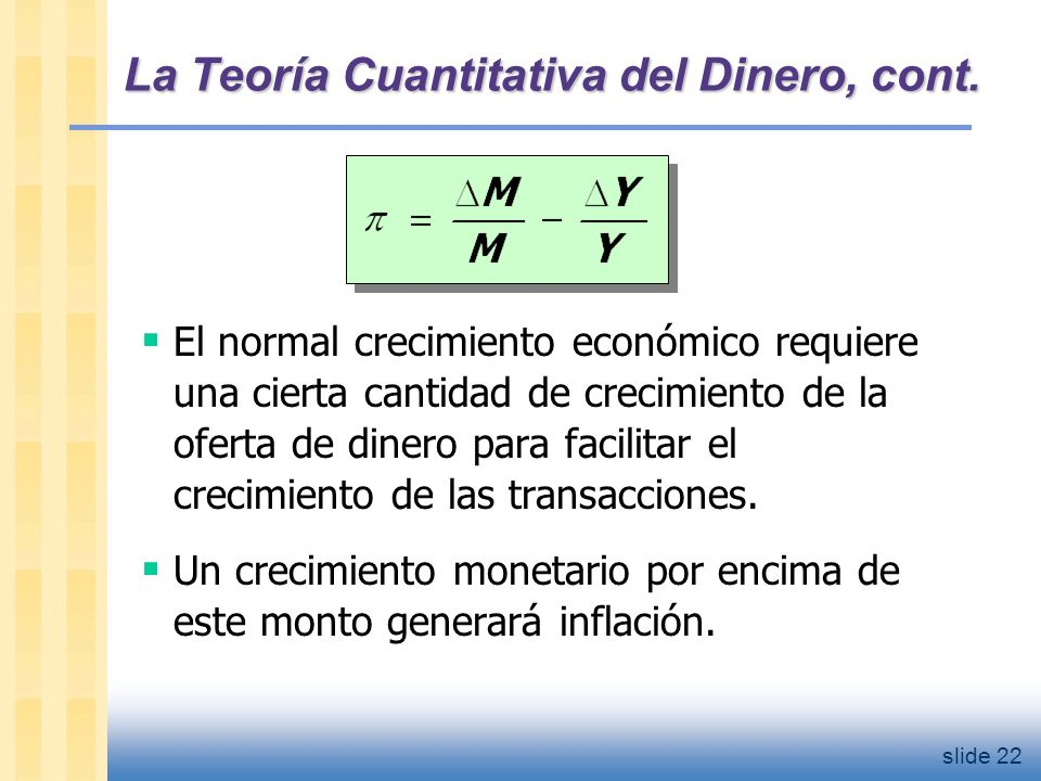 slide 23 La Teoría Cuantitativa del Dinero, cont.