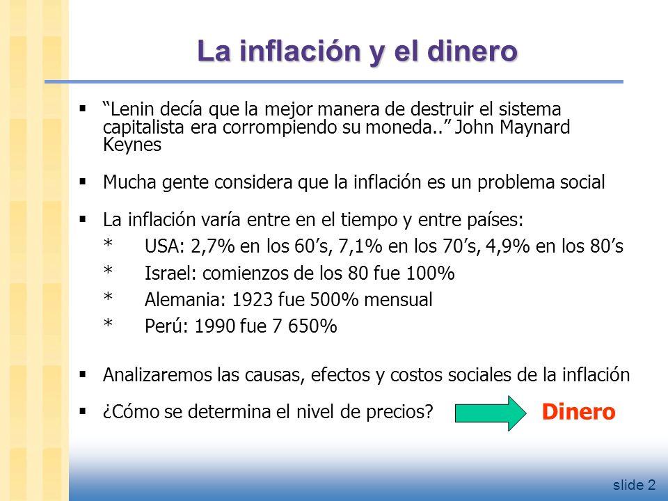 slide 3 Inflación y crecimiento del dinero: EE.UU 1960-2001