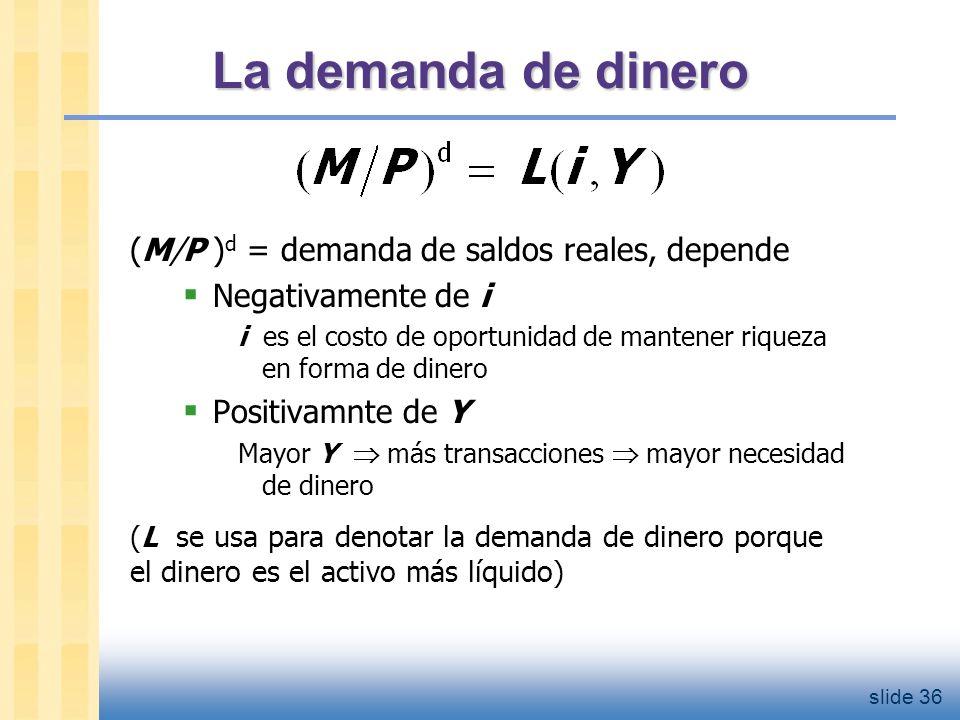 slide 37 La demanda de dinero Cuando la gente decide si su riqueza la mantiene en forma de dinero o bonos, no sabe cual va a ser la inflación.