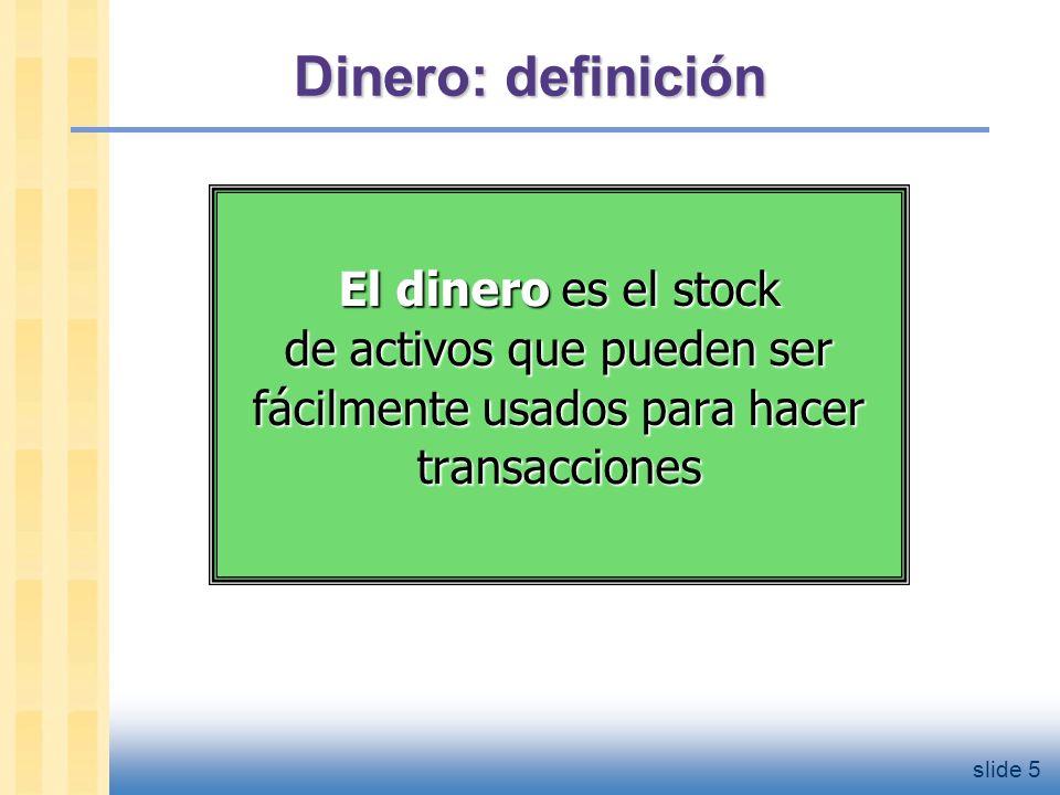 slide 6 La funciones del dinero 1.Medio de cambio Lo usamos para comprar bs.