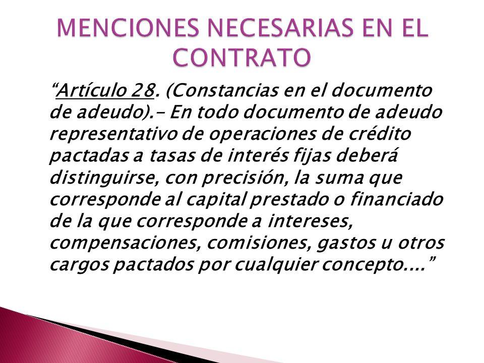 ART.3: INTERESES EN TÉRMINOS CLAROS Y PRECISOS. ART.
