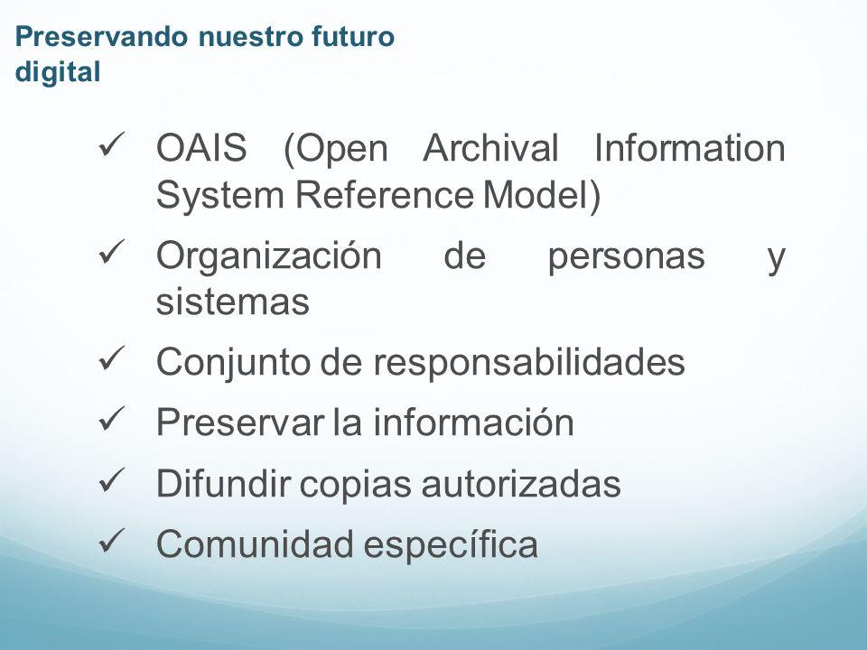 Preservar la información Riesgos razonables Cambios tecnológicos Cambios en la comunidad usuaria Futuro indefinido Preservando nuestro futuro digital