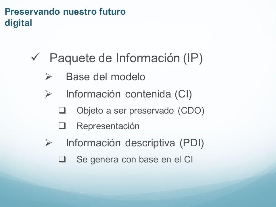 Información descriptiva (PDI) Procedencia Contexto Referencia Protección Preservando nuestro futuro digital