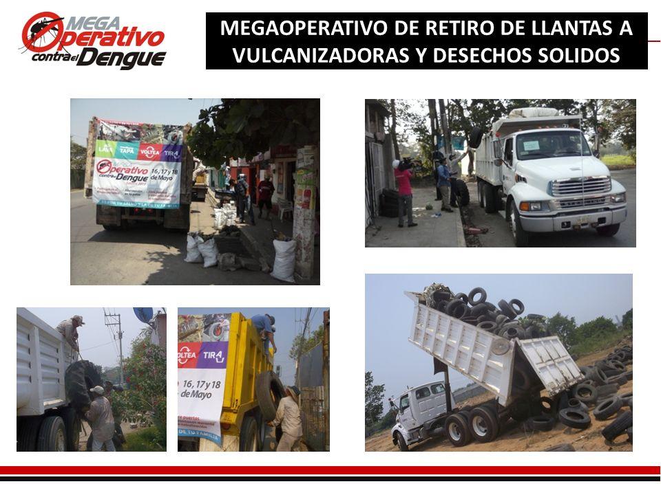 Comité Interinstitucional de Lucha Contra el Dengue MEGAOPERATIVO DE RETIRO DE LLANTAS A VULCANIZADORAS Y DESECHOS SOLIDOS CENTRO DE ACOPIO DE LLANTAS DEL MEGAOPERATIVO