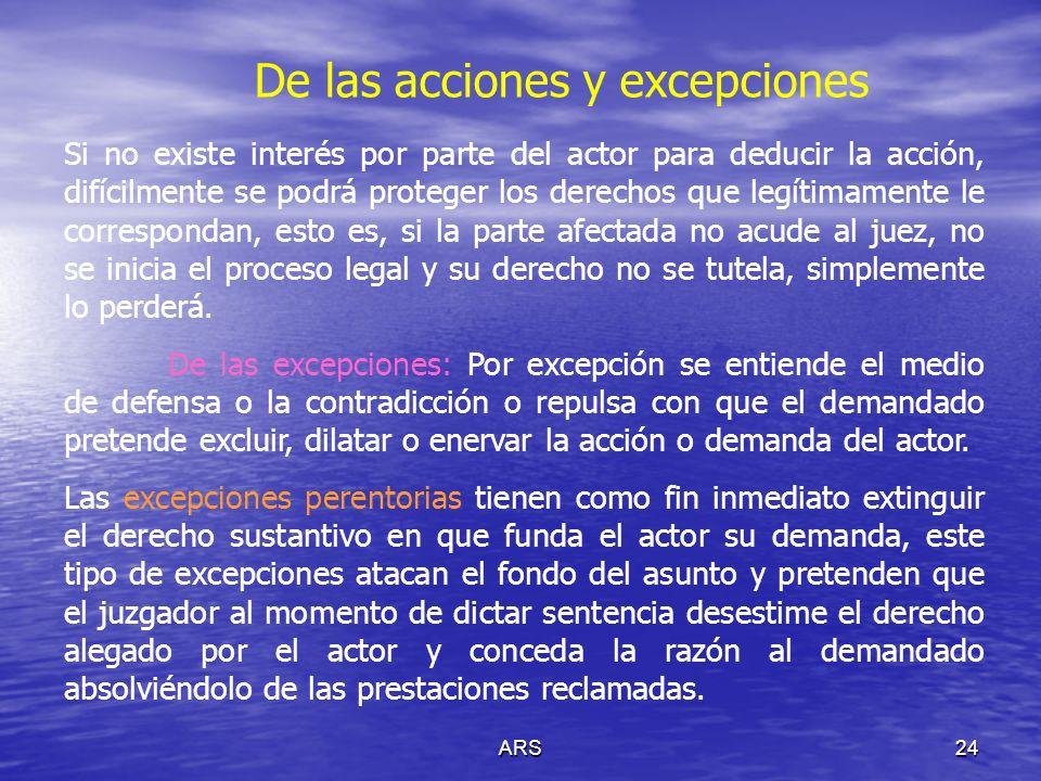 ARS25 De las acciones y excepciones …Estas excepciones se basan en el razonamiento de que el actor carece de derecho sustantivo alegado y por tanto para demandar en consecuencia el demandado no tiene a sucargo obligación alguna que cumplir en la controversia.