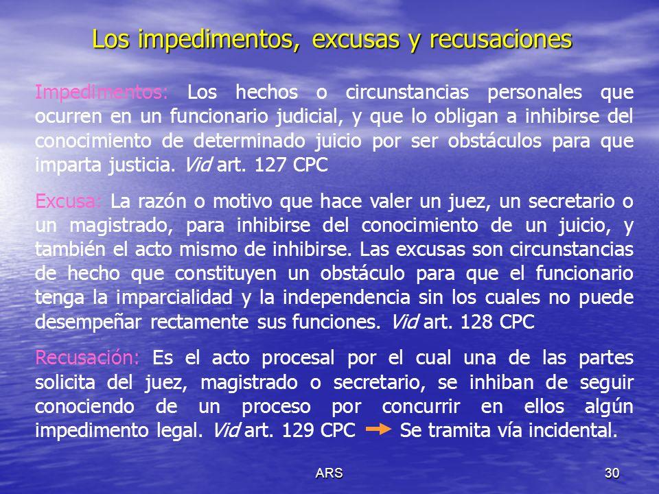 ARS31 Casos en que no tiene lugar la recusación Artículo 133 CPC I.En los actos prejudiciales.