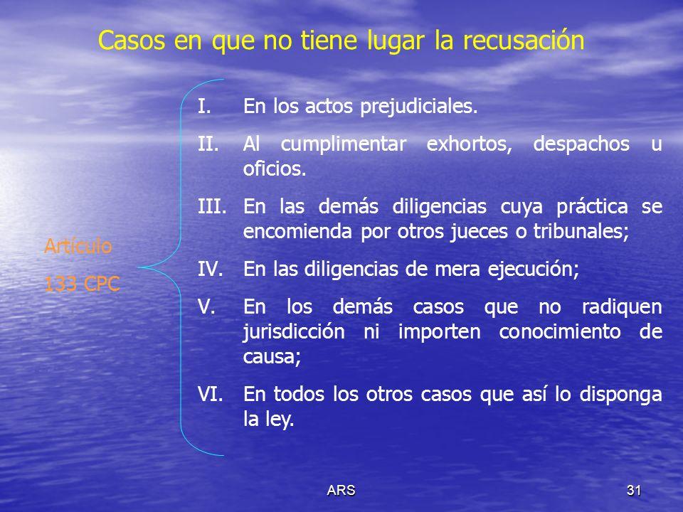 ARS32 Actos Prejudiciales Previstos en el Título Quinto, Capítulos I –V del CPC I.Medios preparatorios del juicio (Arts.