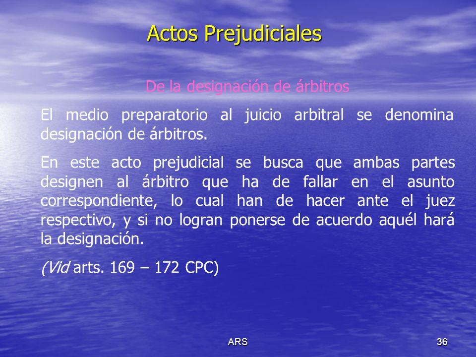 ARS37 Actos Prejudiciales De los preliminares de la consignación (Vid arts.