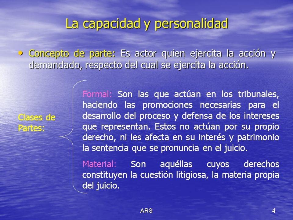 ARS5 La capacidad y personalidad Legitimación: Ad causam (En la causa).