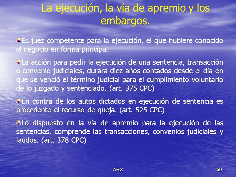 ARS51 La ejecución, la vía de apremio y los embargos.