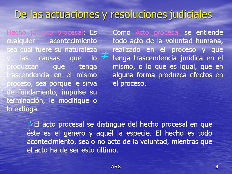 ARS7 De las actuaciones y resoluciones judiciales Requisitos de validez del acto procesal: Capacidad jurídica y procesal de la persona que realiza el acto.