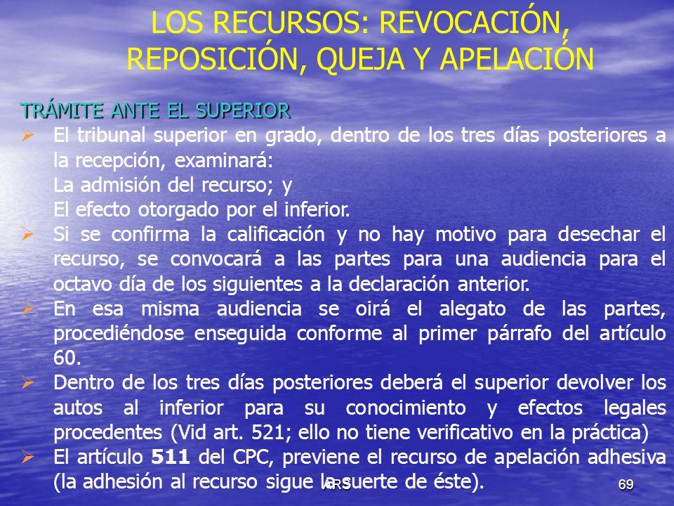ARS70 LOS RECURSOS: REVOCACIÓN, REPOSICIÓN, QUEJA Y APELACIÓN ESCRITOS DE EXPRESIÓN DE AGRAVIOS Al interponerse la apelación se deben expresar los agravios que en concepto del apelante le irrogó la resolución recurrida.