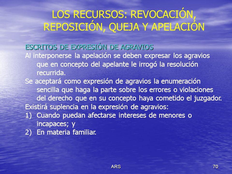 ARS71 LOS RECURSOS: REVOCACIÓN, REPOSICIÓN, QUEJA Y APELACIÓN PRUEBAS EN LA APELACIÓN En segunda instancia, sólo se admitirán las siguientes pruebas: A) Las que injustificadamente, a juicio del tribunal, hubieran sido denegadas en la primera instancia; y B) Las que sean supervenientes.