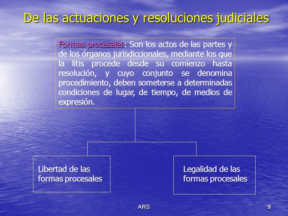 ARS10 De las actuaciones y resoluciones judiciales Resoluciones judiciales: art.