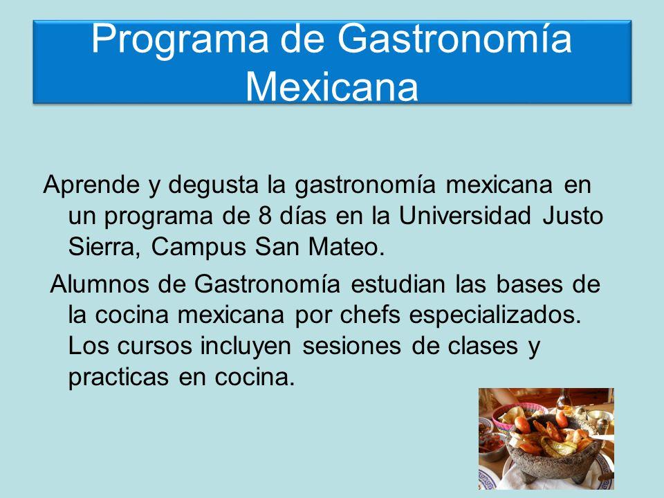 Aventura Culinaria El programa incluye: Clases: 25 horas de clases y practica en la Universidad Justo Sierra, Campus San Mateo.