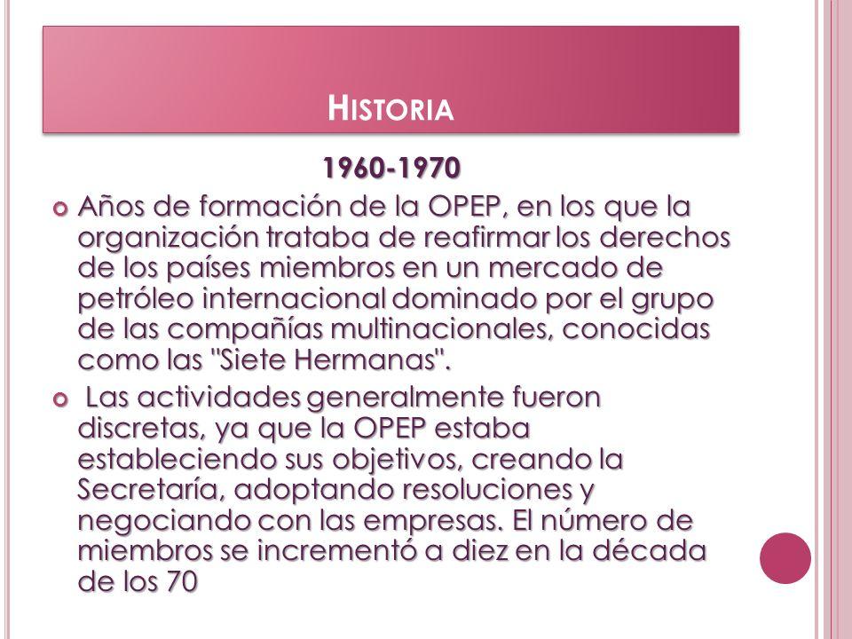 1970-1980 La OPEP adquirió relevancia internacional durante esta década.los países miembros tomaban el control del sector petrolero y adquirían voz y voto a la hora de fijar los precios del petróleo en el mercado mundial.