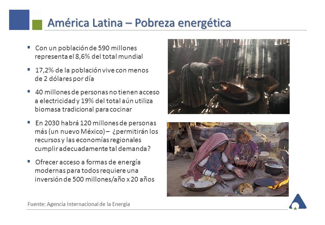 América Latina – Suministro de energía primaria 6 87,7%87,6% 84,5% 79,2% 68,2% 65,4% 61,9% 46,8% Participación de petróleo y gas en ALC: 64,2% vs 53,7% mundial Posición dominante del petróleo y gas en la matriz energética de países productores Fuente: Agencia Internacional de Energía