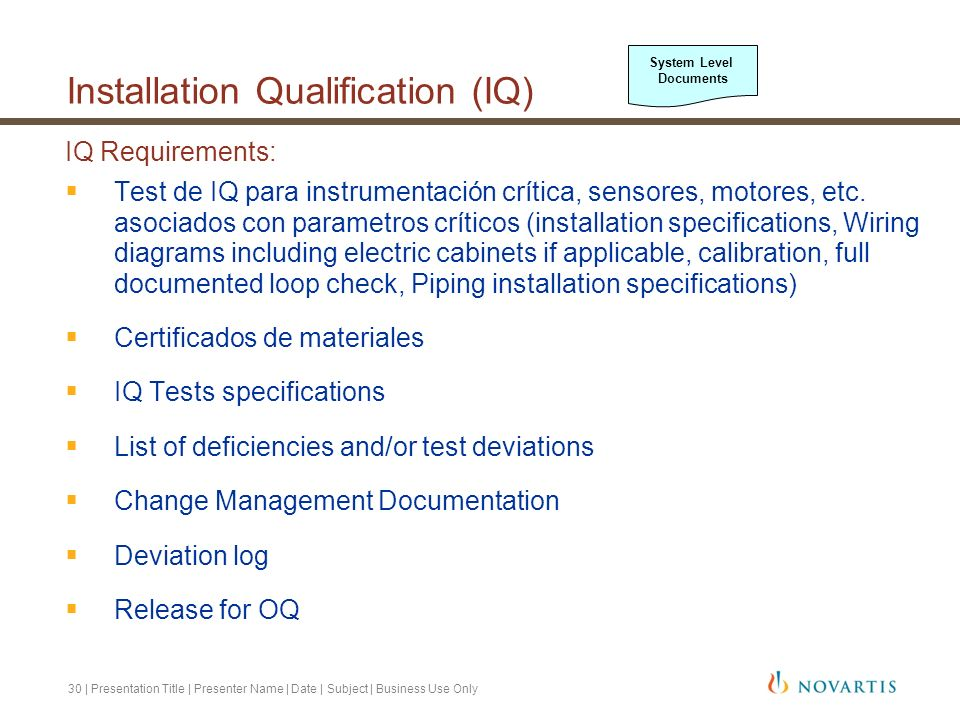 31 | Presentation Title | Presenter Name | Date | Subject | Business Use Only Qualification Coordinator (o persona asociada con este rol) verifica los documentos de IQ Sumario de esta fase: Example: All required documents were successfully verified and all testing was performed as specified with no deficiencies or test deviations noted.