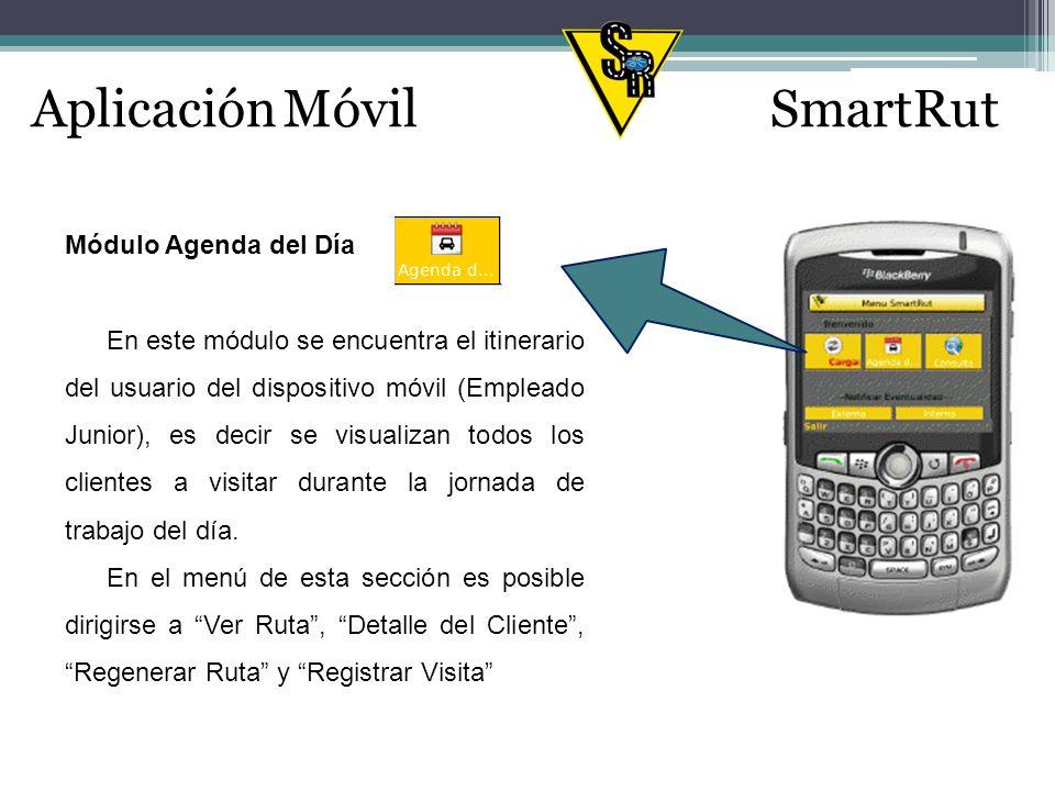 Aplicación MóvilSmartRut Agenda Hay otras opciones: Ver Ruta Detalle Cliente Visita Cliente (en el menú aparece como Registrar Visita) Regenerar Ruta