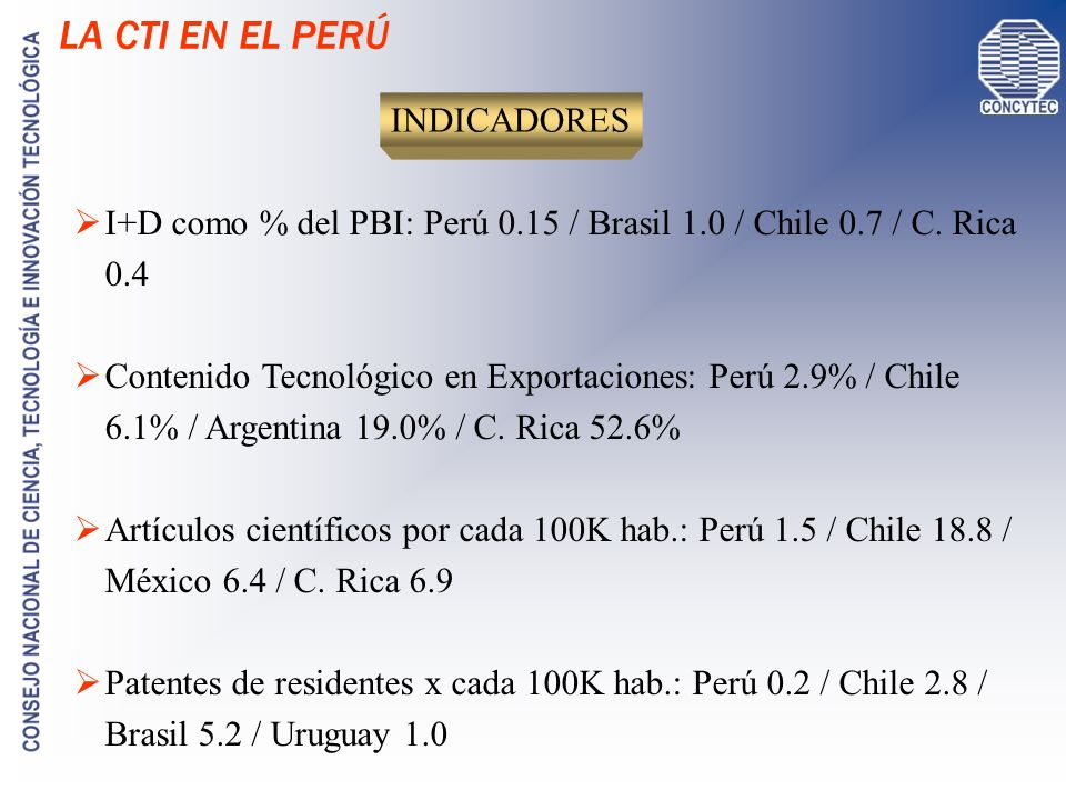 AVANCES DE LA CTI EN EL PERÚ Jul 2004: Ley Marco de C y T (Ley 28 303) / SINACYT Mar 2005: Plan de Desarrollo de la SI en el Perú (RM 148-2005-PCM) Jul 2005: Plan Nac.