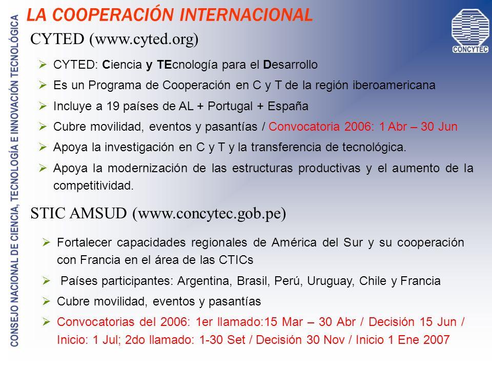 LA COOPERACIÓN INTERNACIONAL ECTI (www.ecti-vsf.org) CSIC (www.concytec.gob.pe) Voluntarios Seniors Franceses (red de 3000 expertos) Es una asociación independiente sin fines de lucro Ayudan mediante misiones de cooperación científica, técnica, cultural y humanitaria.