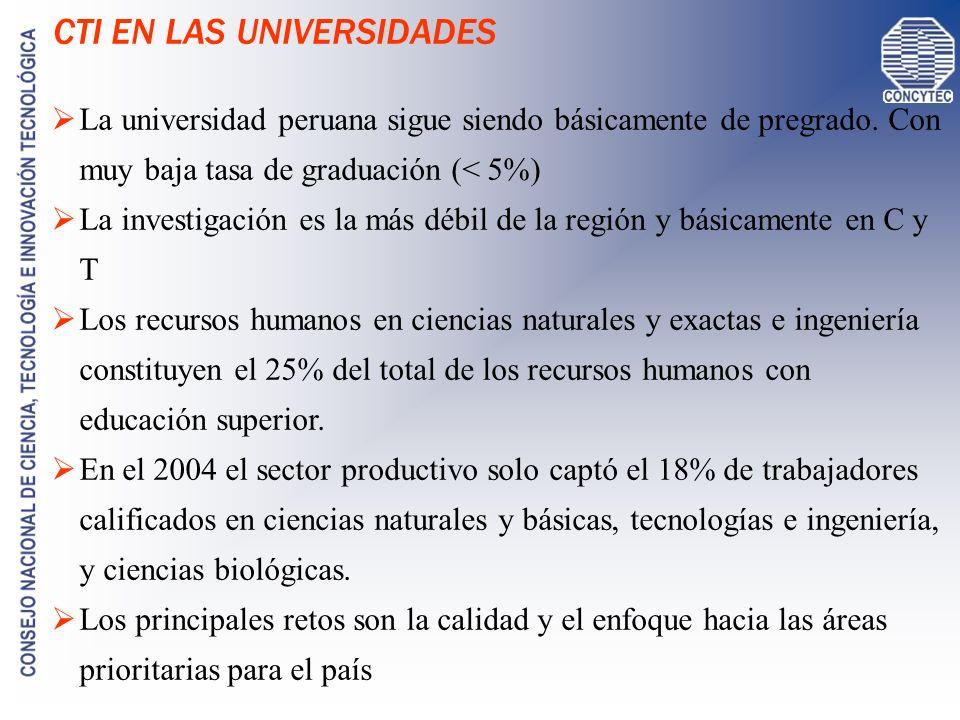 I+D EN LAS UNIVERSIDADES Fuente: MEF / SIAF / PIA 2005