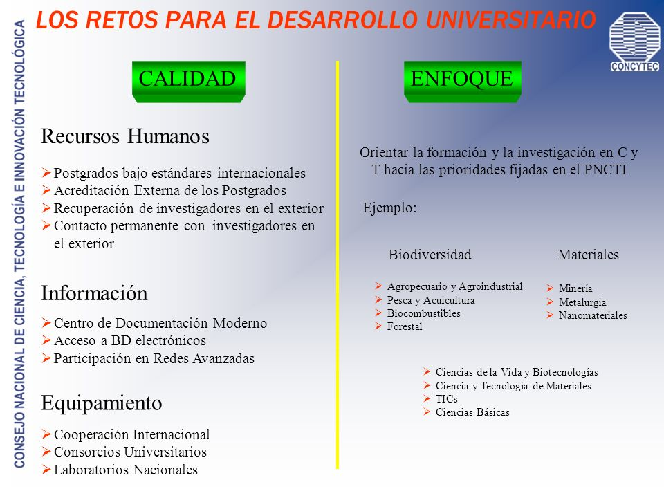 I+D EN LAS UNIVERSIDADES COMENTARIOS La inversión promedio en I+D de 3% del presupuesto universitario es mínima y explica la situación La presencia de las universidades en proyectos de I+D financiados por la cooperación internacional (UE / NSF / ….) es casi nula.
