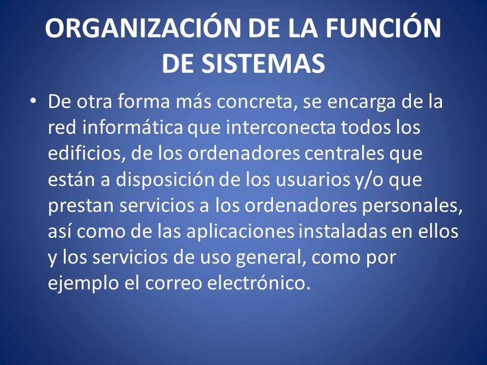 Algunas funciones son: Diseño, Implementación y Administración de Redes de Comunicaciones Selección e instalación de Sistemas Informáticos.