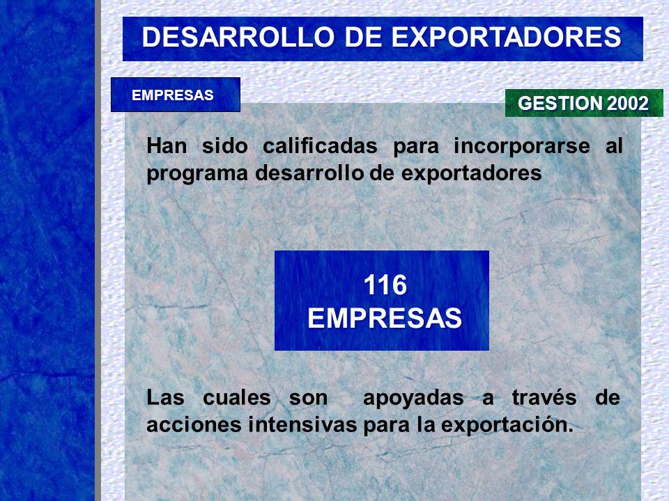 DESARROLLO DE EXPORTADORES Empresas especialmente seleccionadas por la Fundación Export.Ar para suministrar asistencia para las exportaciones A&CI S.A.