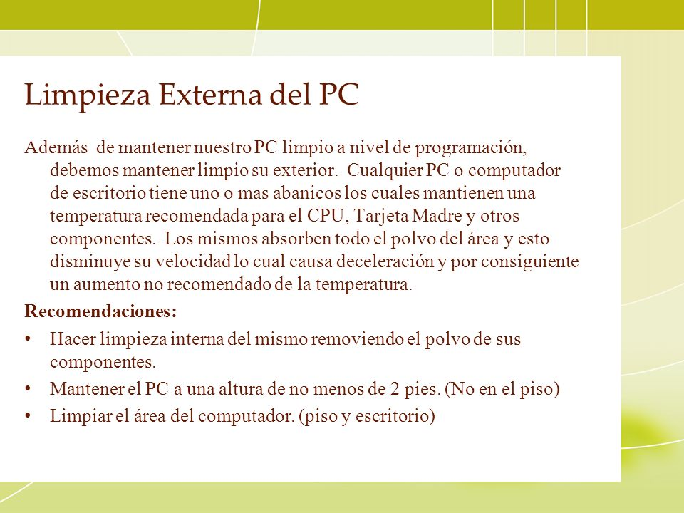 Limpieza Externa del PC