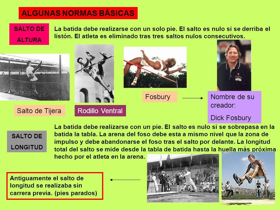 EN LOS SALTOS ES IMPORTANTE SABER: En los saltos podemos distinguir las siguientes fases: Carrera: aproximación al lugar donde se efectúa el salto.