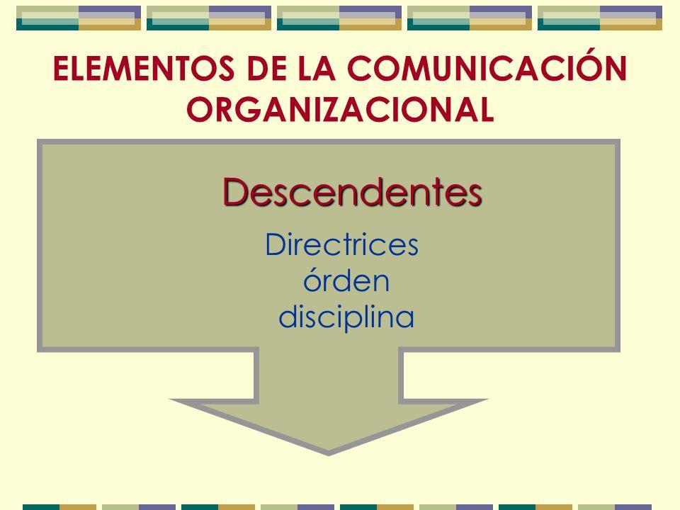 ELEMENTOS DE LA COMUNICACIÓN ORGANIZACIONAL Descendentes Directrices órden disciplina