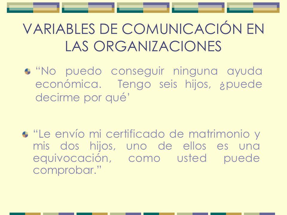 VARIABLES DE COMUNICACIÓN EN LAS ORGANIZACIONES No puedo conseguir ninguna ayuda económica.