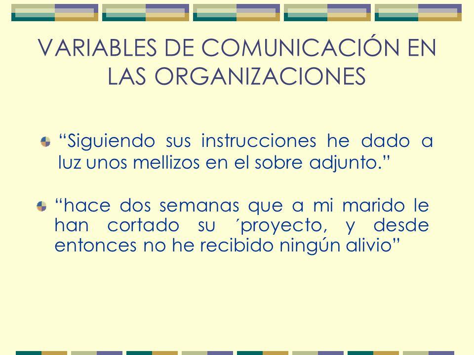 VARIABLES DE COMUNICACIÓN EN LAS ORGANIZACIONES Siguiendo sus instrucciones he dado a luz unos mellizos en el sobre adjunto.