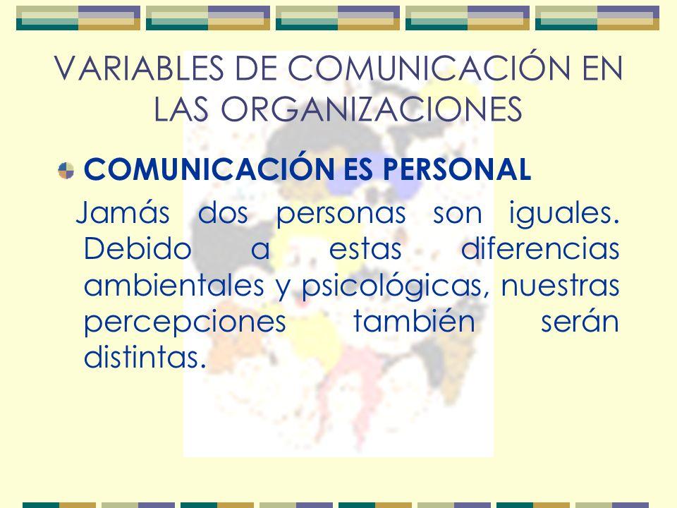 VARIABLES DE COMUNICACIÓN EN LAS ORGANIZACIONES COMUNICACIÓN ES PERSONAL Jamás dos personas son iguales.