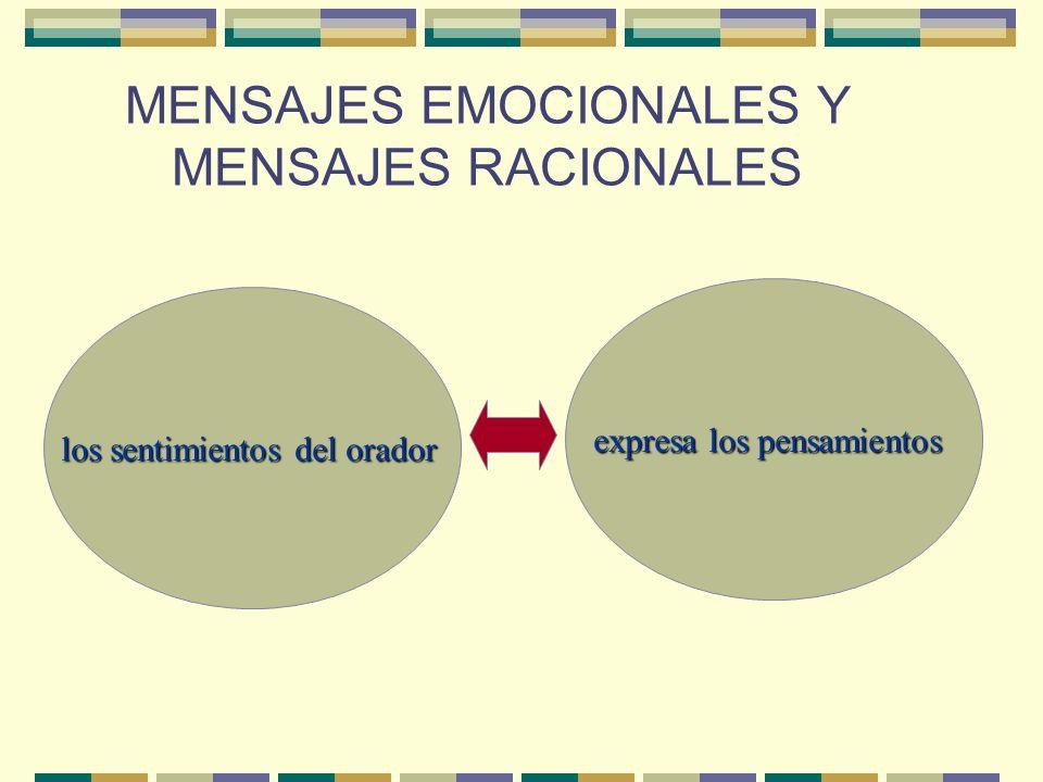 MENSAJES EMOCIONALES Y MENSAJES RACIONALES los sentimientos del orador expresa los pensamientos