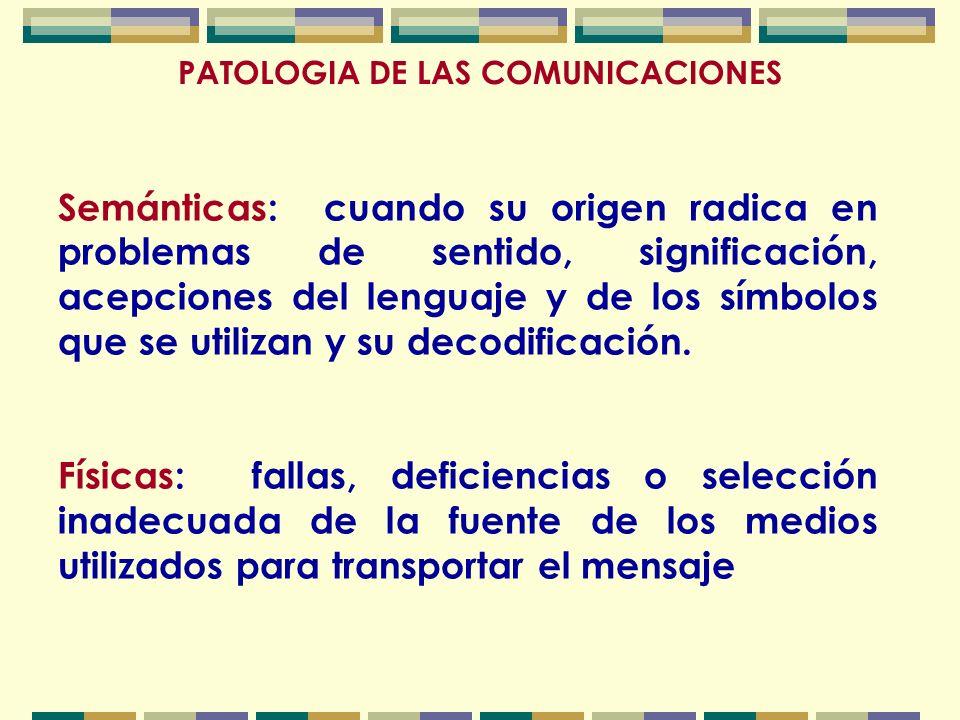 PATOLOGIA DE LAS COMUNICACIONES Semánticas: cuando su origen radica en problemas de sentido, significación, acepciones del lenguaje y de los símbolos que se utilizan y su decodificación.