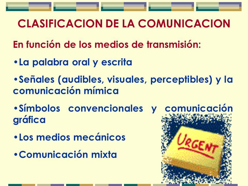 CLASIFICACION DE LA COMUNICACION En función de los medios de transmisión: La palabra oral y escrita Señales (audibles, visuales, perceptibles) y la comunicación mímica Símbolos convencionales y comunicación gráfica Los medios mecánicos Comunicación mixta