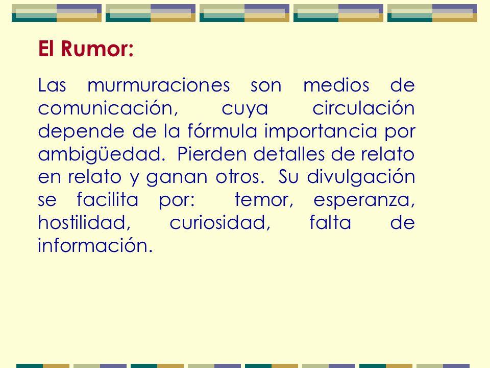 El Rumor: Las murmuraciones son medios de comunicación, cuya circulación depende de la fórmula importancia por ambigüedad.