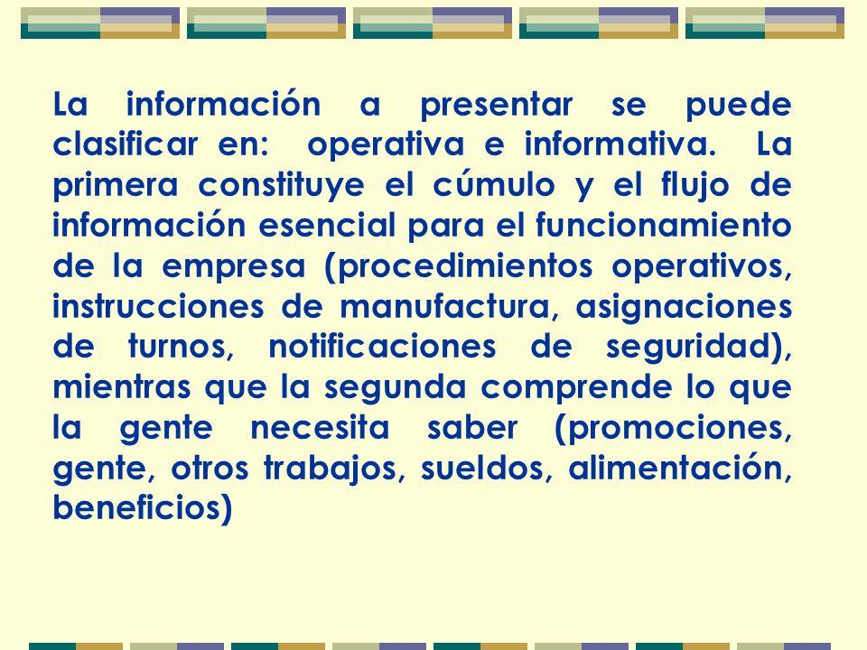 La información a presentar se puede clasificar en: operativa e informativa.
