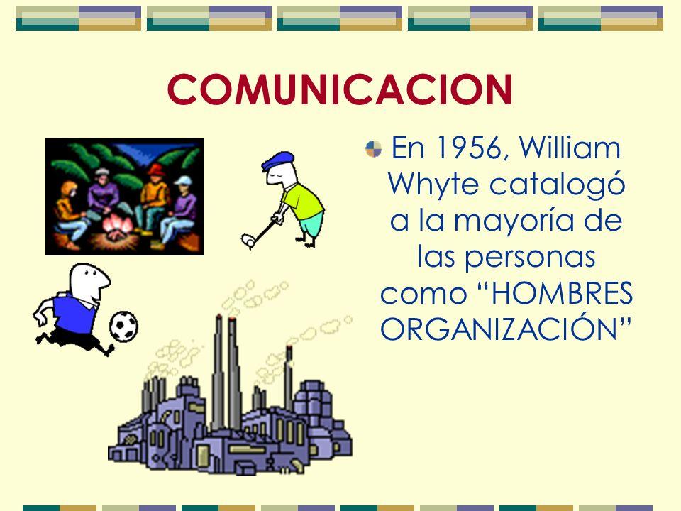 En 1956, William Whyte catalogó a la mayoría de las personas como HOMBRES ORGANIZACIÓN COMUNICACION